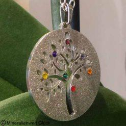 Baum des Lebens diamantiert, Edelstahl, Edelsteine, Heilsteine