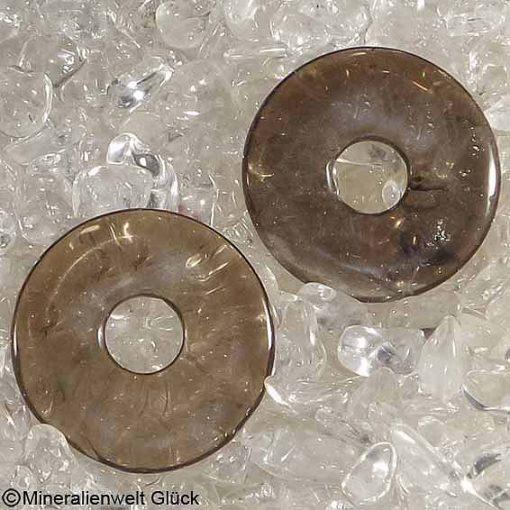 Rauchquarz Donut, Donutscheiben, Mineralien, Edelsteine, Heilsteine