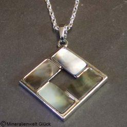 Perlmutt Anhänger Quadrat, Mineralien, Edelsteine, Heilsteine