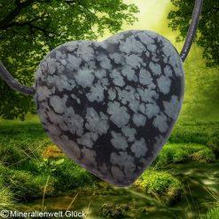 Schneeflockenobsidian Herz gebohrt, Mineralien, Heilsteine