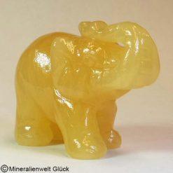 Edelstein Elefant Orangencalcit, Tierfiguren, Mineralien, Edelsteine, Heilsteine