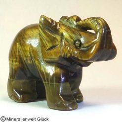Edelstein Elefant Tigerauge, Tierfiguren, Mineralien, Edelsteine, Heilsteine
