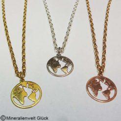 Mutter Erde Anhänger, Silber, rhodiniert, vergoldet, rose vergoldet