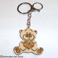 Schlüsselanhänger Teddybär, Edelsteine, Mineralien