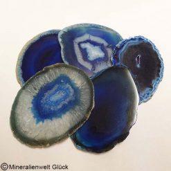 Achatscheiben blau, Edelsteine, Mineralien