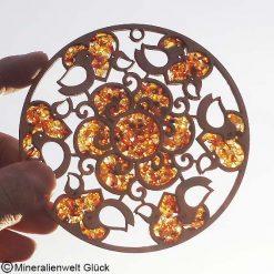Bernstein Herz - Blume, Edelsteine, Mineralien, Fesnterdekoration